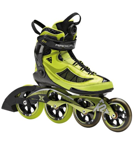 K2 Skate Men's Radical X Boa Racing Inline Skates, Lime/Black, 11