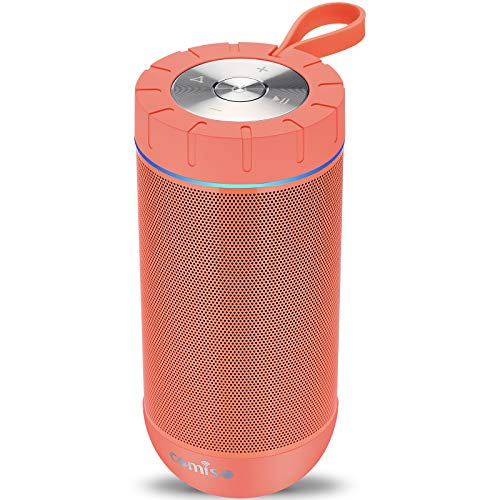 COMISO Waterproof Bluetooth Speakers Outdoor Wireless Portable Speaker with 24 Hours Playtime Superior Sound for Camping, Beach, Sports, Pool Party, Shower (Coral Red)
