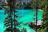 YANCONG Rompecabezas 1000 Piezas, Hermoso Lago Sudtirol Y Cabaña En Italia Rompecabezas De Madera 75X50Cm