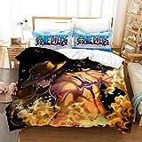 YOMOCO Juego de ropa de cama de One Piece – Funda nórdica y dos fundas de almohada, microfibra, impresión digital 3D de tres piezas (01, King 240 x 220 cm)