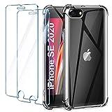 Leathlux Funda iPhone SE 2020 + [2 Pack] Cristal Templado Protector de Pantalla, Ultra Fina Silicona Transparente TPU Carcasa Protector Airbag Anti-arañazos Cover iPhone SE 2020/iPhone 7/iPhone 8 4.7'