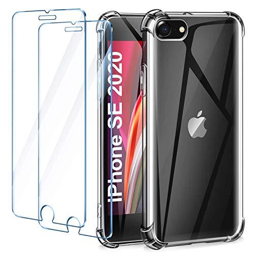 Leathlux Funda iPhone SE 2020 + [2 Pack] Cristal Templado Protector de...