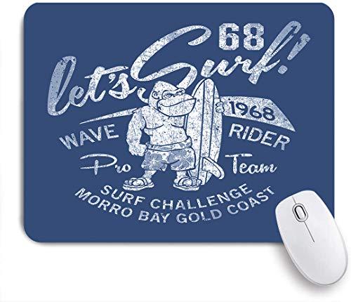 GLONLY Tappetino per Mouse,Gorilla Wave Rider Surf Theme Divertente Grunge Sport marini Estivi chanllenge Surf,Superficie Liscia in Gomma Antiscivolo Mouse Pad