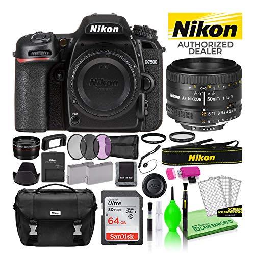 Nikon D7500 DSLR Digital Camera with AF 50mm f/1.8D Lens (1581) USA Model Deluxe Bundle -Includes-...