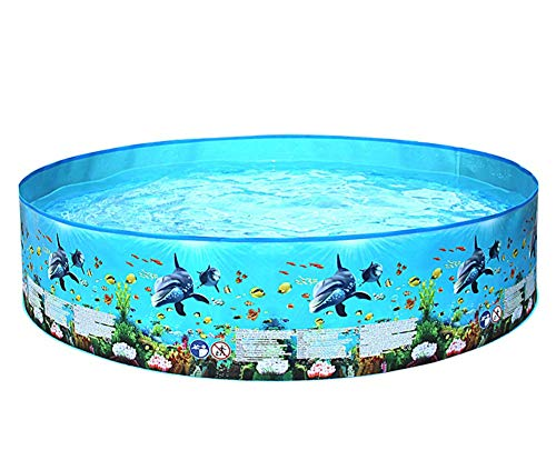 EZ - Piscina redonda para niños, mascotas y familia en verano, mundo del mar, desde PVC lateral, agua divertida (tamaño: 48 x 25 cm, para 1 persona)
