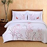 Superior 100% Cotton Percale Embroidered 3-Piece Duvet Cover Set, King/California King, Red Swallow
