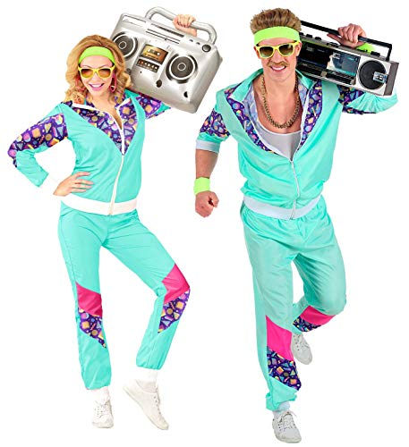 Widmann 00183 - Kostüm 80er Jahre Trainingsanzug, Jacke und Hose, angenehmer Tragekomfort, Assi Anzug, Proll Anzug, Retro Style, Bad Taste Party, 80ties, Karneval