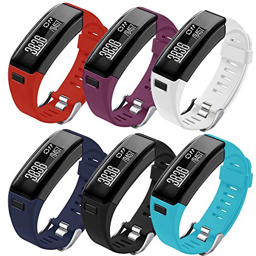 Oenfoto Compatible Garmin Vivosmart HR Replacement Bands, Soft Silicone Bracelet Sport Wristband Strap Accessories with Screwdriver for Garmin Vivosmart HR-6-Pacck