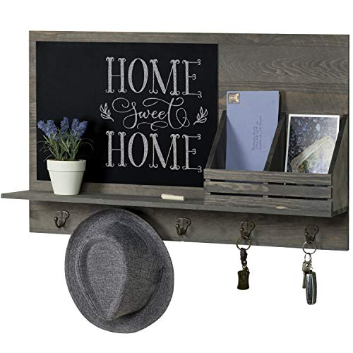 MyGift Rustic Grey Wood Wall-Mounted Mail Sorter Rack with 5...