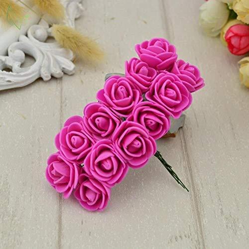 12 stks PE Foam Rose Kunstbloemen goedkoop Voor thuis Bruiloft Decoratie DIY Krans geschenkdoos scrapbooking handwerken Fake Flower, 6 rose rood
