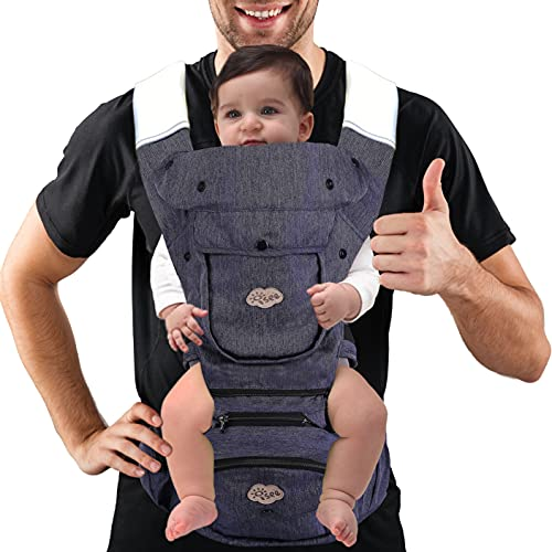 ISEE Ergonomic Baby Carrier with Hip Seat, All-Position Baby Carrier for Newborn to Toddler with Lumbar Support, Adjustable Infant Carriers Comfortable Ride for Parent and Baby.