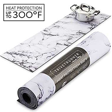 TRIVETRUNNER Decorative Trivet and Kitchen Table Runners Handles Heat Up to 300F, Anti Slip, Hand Washable, and Convenient for Hot Dishes and Pots,Hand Washable (White Marble)