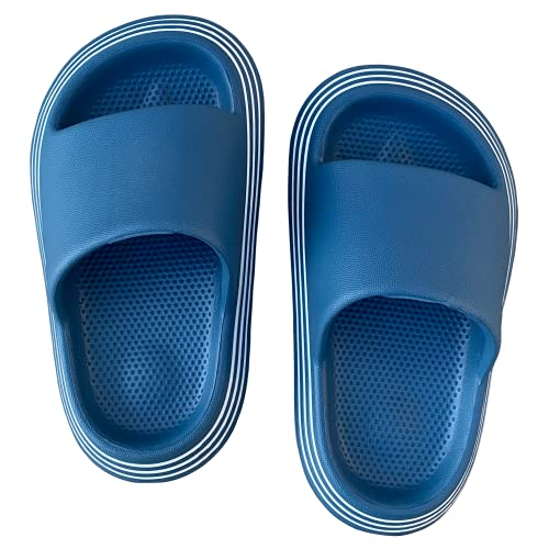 Lucky Love Kids Slides Sandals Boys and Girls; Slip On Water Shoes Kids and Toddler Sizes (Blue, Size 9 Little Kid)