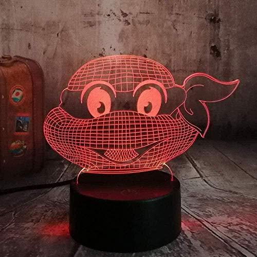ZWANDP Lámpara de ilusión 3D Figura de luz nocturna Tortugas ninja mutantes adolescentes Lámpara de atmósfera moderna Decoración de bodas USB 7 colores