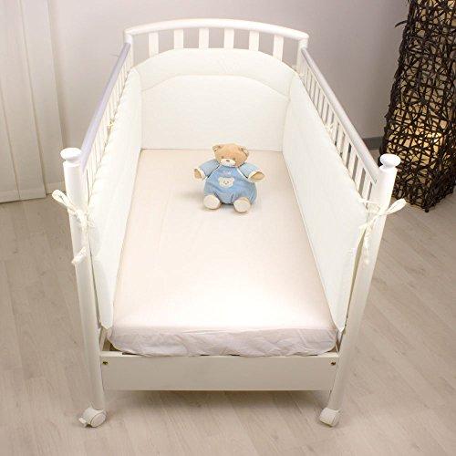 Babysanity® MORBIDO PARACOLPI Lettino Culla Neonato Bambino Protezione Avvolgente Cotone - MADE IN ITALY- Lati Lunghi bianco