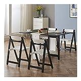 Qilo Mesa de Cocina 1.35m de 6 sillas de Comedor Juego de Mesa Plegable Hoja de la Gota de Madera Maciza Muebles de Cocina de Madera sólida (Color : Black+White)