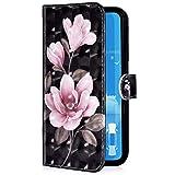 Uposao Compatibile con Xiaomi Redmi 5 Plus Custodia Creativo 3D Design Bling Glitter [Funzione Stand] [Magnetica] [Slot Carte] Flip Pelle PU Cover Protettiva Caso,Fiore rosa