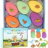 Bombas de Baño para Niños con Sorpresa en el Interior, 6 Piezas de Huevo de Dinosaurio Hecho a Mano Bombas de Baño Naturales Juguetes de Dinosaurio para Niñas Niños Cumpleaños Pascua Juego de Regalo