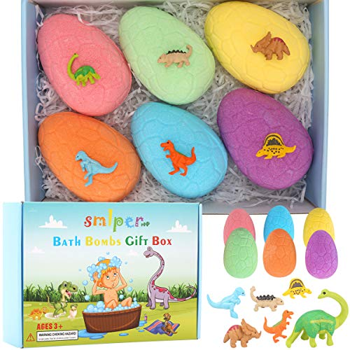 Bombas de Baño para Niños con Sorpresa en el Interior, 6 Piezas de Huevo de Dinosaurio Hecho a Mano Bombas de Baño Naturales Juguetes de Dinosaurio para Niñas Niños Cumpleaños Pascua Juego de