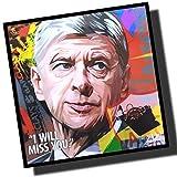 アーセン・ベンゲル アーセナル (ヴェンゲル) デザインB 海外サッカーグラフィックアートパネル 木製ポスター インテリア … (26*26cm アートパネルのみ)