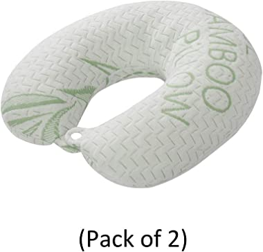 Bamboo Neck Travel Pillow - Machine Washable Cover, Ergonomically Designed, Hypoallergenic, Memory Foam Pillow (Pack of 2)