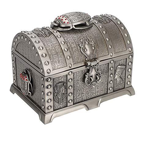 Qkiss Schmuckkästchen mit Schloss, Vintage Schmuck Aufbewahrungsbox Jewelry Case, Schmink Koffer Organizer für Ringe Armbänder Ohrringe Halsketten