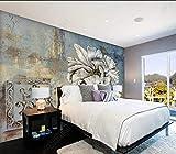Fotomurales Papel pintado tejido no tejido Flores azules nostálgicas Murales moderna Arte de la pared Decoración de Pared decorativos 250x175 cm