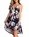 FANCYINN Women's Spaghetti Straps High Low Hem Deep V Neck Floral Dress Backless A Line Skater Cocktail Dresses & Pockets Blue M