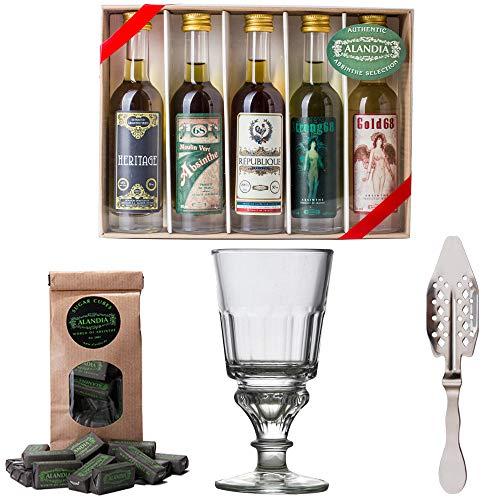 Absinth Starter Set   Komplett mit 5x original Absinth   1x Absinth-Glas   1x Absinth-Löffel   1x Zuckerwürfel   Auch super als Geschenk