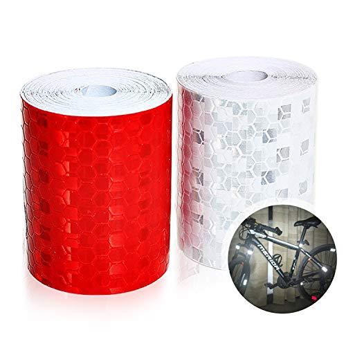 Reflektorband Klebeband, Aodoor absperrband 2 Rolle Warnklebeband Warnband zum Aufkleben und selbst zuschneiden Nacht Reflektor Streifen Tape,5cm X 3 m