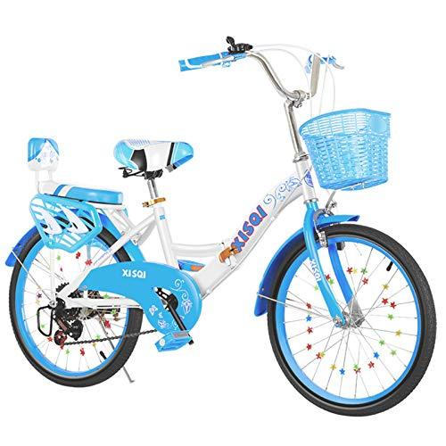 ALUNVA 20 22 Pulgadas Bicicleta para Niños,Bicicleta Compacta,Bicicleta Plegable,Bicicleta Portátil,Mini Bicicleta Plegable Ligera,Azul Negro-Azul 2 22 Pulgadas