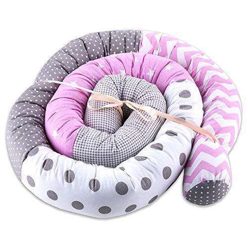 cojin serpiente patchwork - protector cuna chichonera cojin bebe cuna parachoques cuna Patrón de zigzag rosa, 300 cm