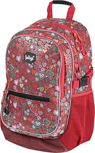 Baagl Kinderrucksack für Mädchen, Schulrucksack für Kinder mit ergonomisch geformter Rücken, Brustgurt und reflektierende Elemente (Love)