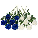 Floralsecret 12 Pezzi Fiori Artificiali Seta Rose Bouquet Fiori Finti a Casa, Matrimonio, Decorazioni per Feste(Bianco, Blu)