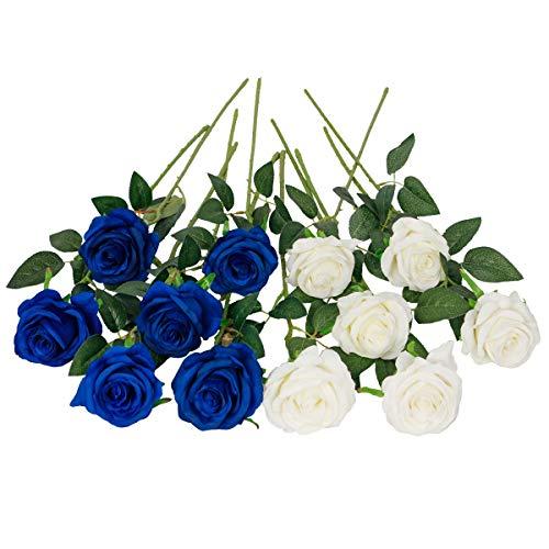 Floralsecret 12 Stück künstliche Seide Rosen Blumenstrauß Faux Flowers Home Hochzeitsfeier Dekor(Weiß, Blau)