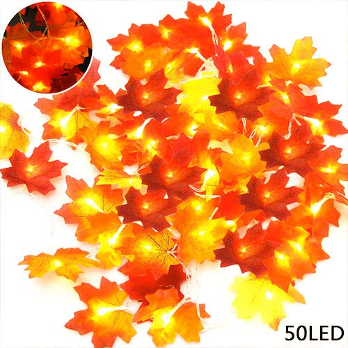 HONEYOU 2 Pack LED Maples Leaf String Lights 20ft 50 LED Warm White String Lights Battery Powered for Thanksgiving Halloween Christmas Indoor & Ourdoor Decorations