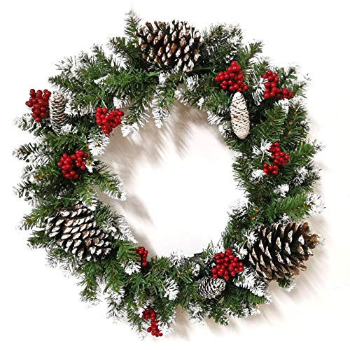 THIRDBST Christmas Wreaths for Front Door - Prelit Xmas Wreath with Lights Battery Operated, Lighted Wreaths for Outdoors Cars, Pre-Strung 50 LED Lights Artificial Christmas Wreath(24in)