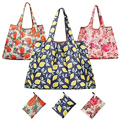 Reusable Shopping Bags,Eco Friendly Large Grocery Tote Bag Foldable into Attached Pouch Heavy Duty Nylon Groceries Bag Fits in Pocket