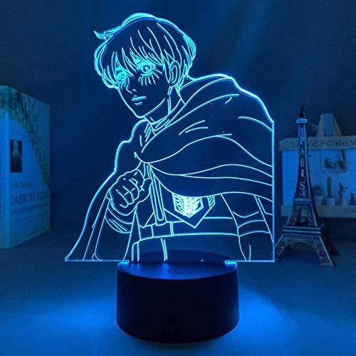 WENJZJ Lámpara de Anime Ataque 3D en Titan 4 Armin Arlert Figura para Dormitorio Decoración Noche Luz Niños Regalo Cumpleaños Shingeki No Kyojin 16 Color