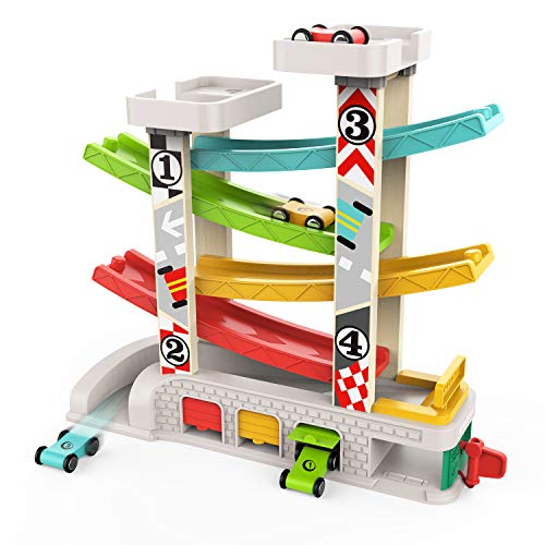 TOP BRIGHT Car Ramp Racer Toy - Toddler Click Clack Race Track Car Slide Toy for 1 2 Year Old Boy and Girl Gifts