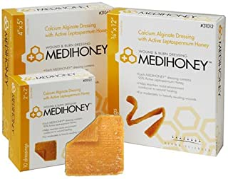 Derma Sciences 31644 Medihoney Dressing Hydrogel Colloidal Sheet, Non-Adhesive, 4.3
