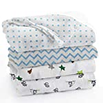 aden + anais Essentials Swaddle Blanket, Muslin Blankets for Girls & Boys, Baby Receiving Swaddles, Newborn Gifts, Infant Shower Items, Wearable Swaddling Set, 4 Pk, Dinotime