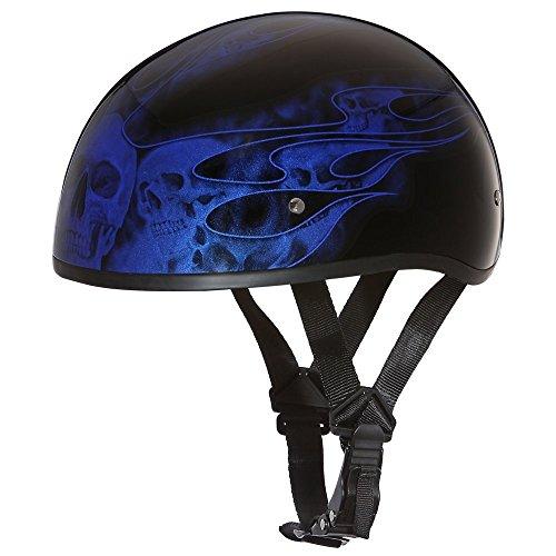 Daytona Helmets Motorcycle Half Helmet Skull Cap- Skull Flames Blue 100% DOT Approved