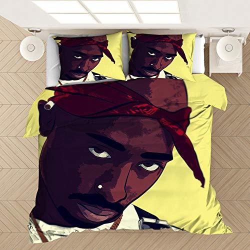 ZPYHJS Tupac 2Pac Rap Star Juego de edredón de 3 Piezas, Juego de edredón Suave y cómodo para Adultos y Adolescentes, Ropa de Cama de tamaño Completo para decoración de dormitorios-F_140x210cm (2pcs)