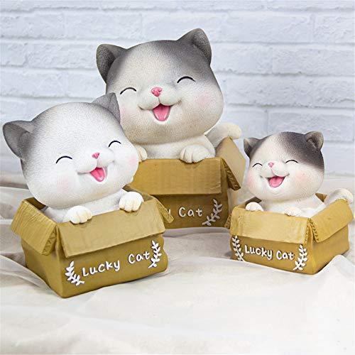 Hucha,Hucha creativa Miaoxiaole, linda decoración del hogar decoración regalo para niños de gran tamaño-entrecerrar los ojos