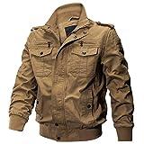 KEFITEVD ミリタリー ジャケット 暖かい ジャンパー メンズ 秋服 防寒 ブルゾン 立て襟 ライダース コットン カーキ L JP XL