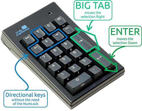 Truly Ergonomic Mechanical Numeric Keypad for Data Entry - PC - Big Large TAB - Cherry MX Mechanical Switches - USB - Best 10-Key Keyboard, Numpad, Number Pad - Windows Linux