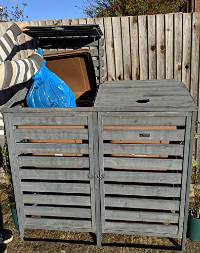 BinGarden Double Wooden Slatted Wheelie Bin Store with Bi-Fold Roof. Garbage Cover Trash Storage Shed Tidy Outdoor Hideaway for up to 240L Bins / 65G Cans. Hide Dustbin Bin Garden, Painted Dark Grey
