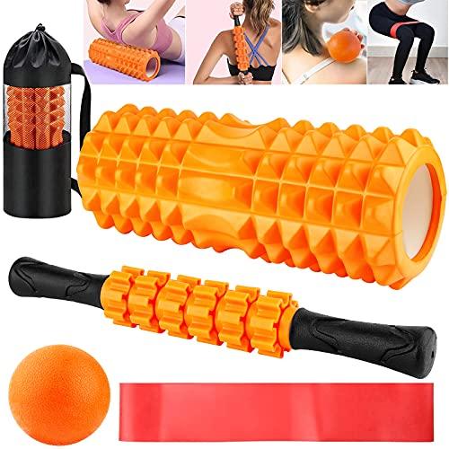 Amzeeniu Rodillo de Espuma 5 en 1,Foam Roller Kit Rodillo Masaje Muscular con Rodillos de Espuma, Roller Stick, Bola de Masaje, Bandas Elasticas Punto de activación,para Terapia de Masaje Yoga Pilates