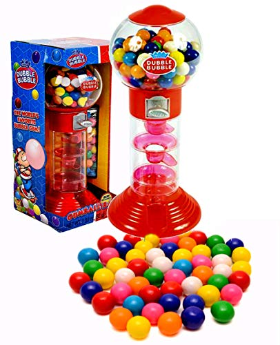 PlayO 10.5' Spiral Gumball Machine Toy Bank - Dubble Bubble Spiral Style Includes Aprox 40 Gum Balls - Kids Prizes (Red Spiral Machine)